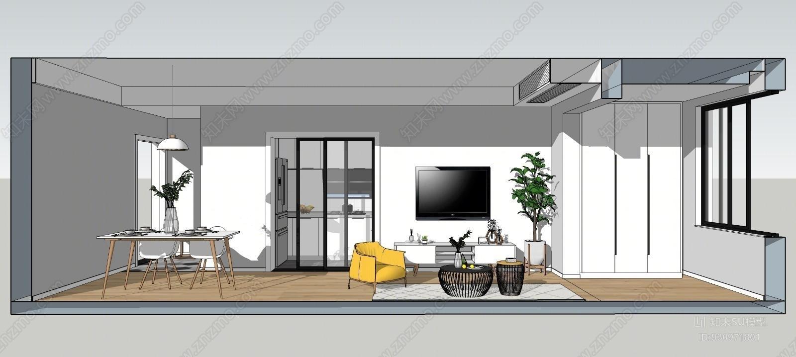 北欧客餐厅卧室组合办公室SU模型下载【ID:930971801】