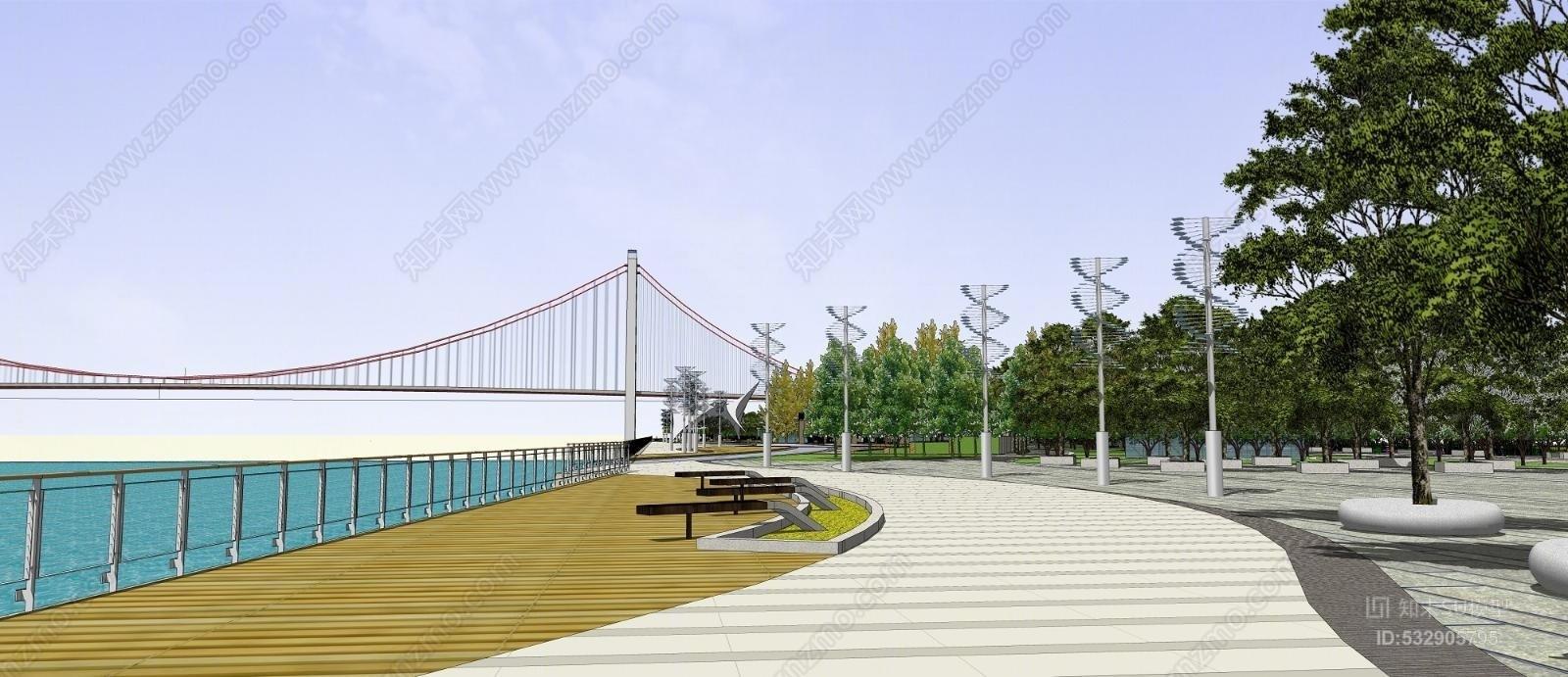 现代公园景观  城市景观 小公园 斜拉桥