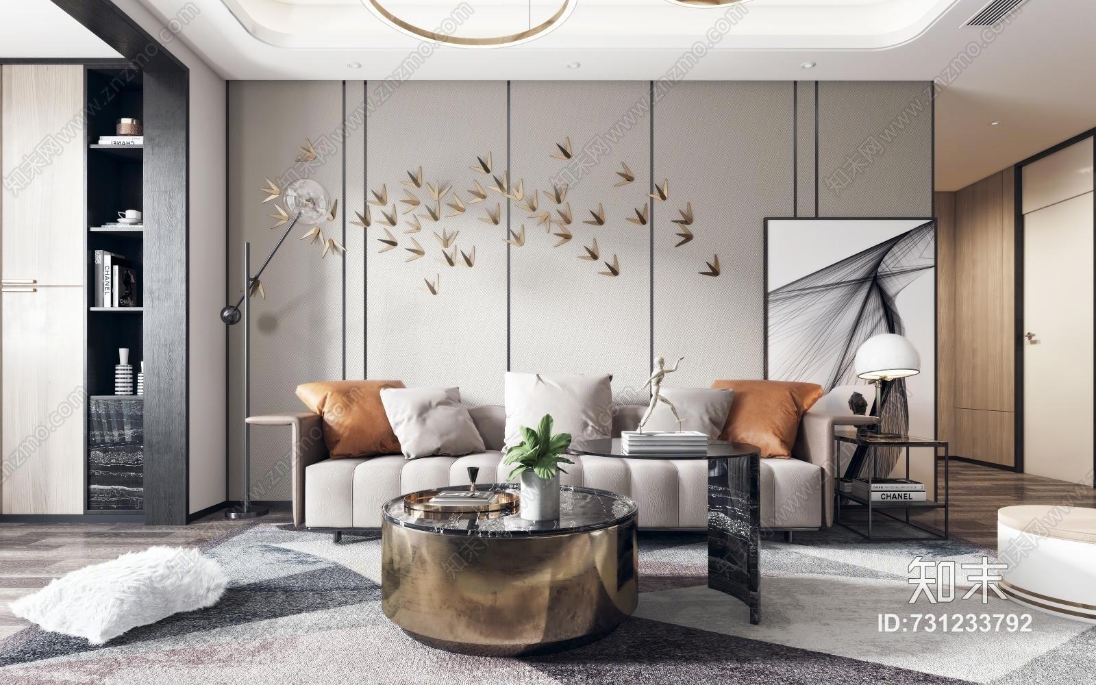 后现代客厅 沙发茶几 吊灯 墙饰