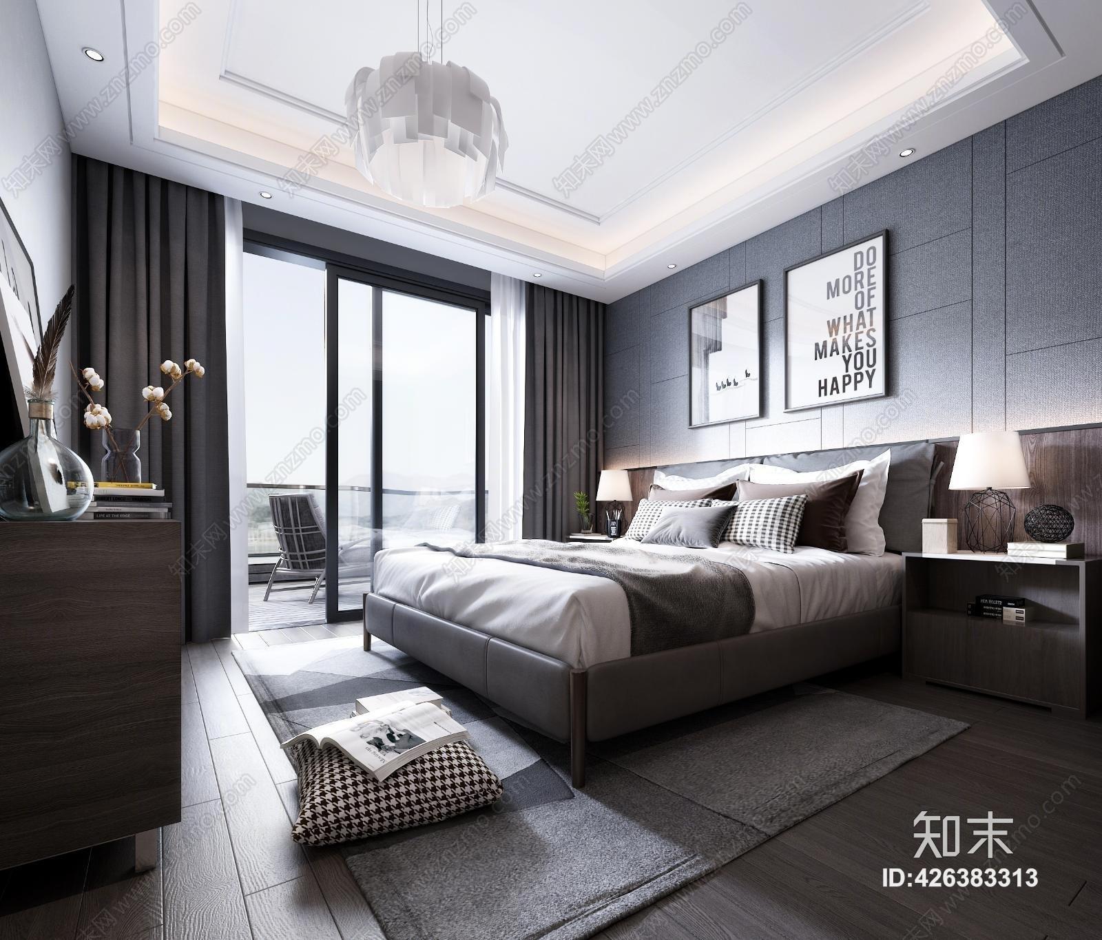 现代主人房 床具 床头柜 吊灯 台灯 装饰品 挂画 地毯 窗帘