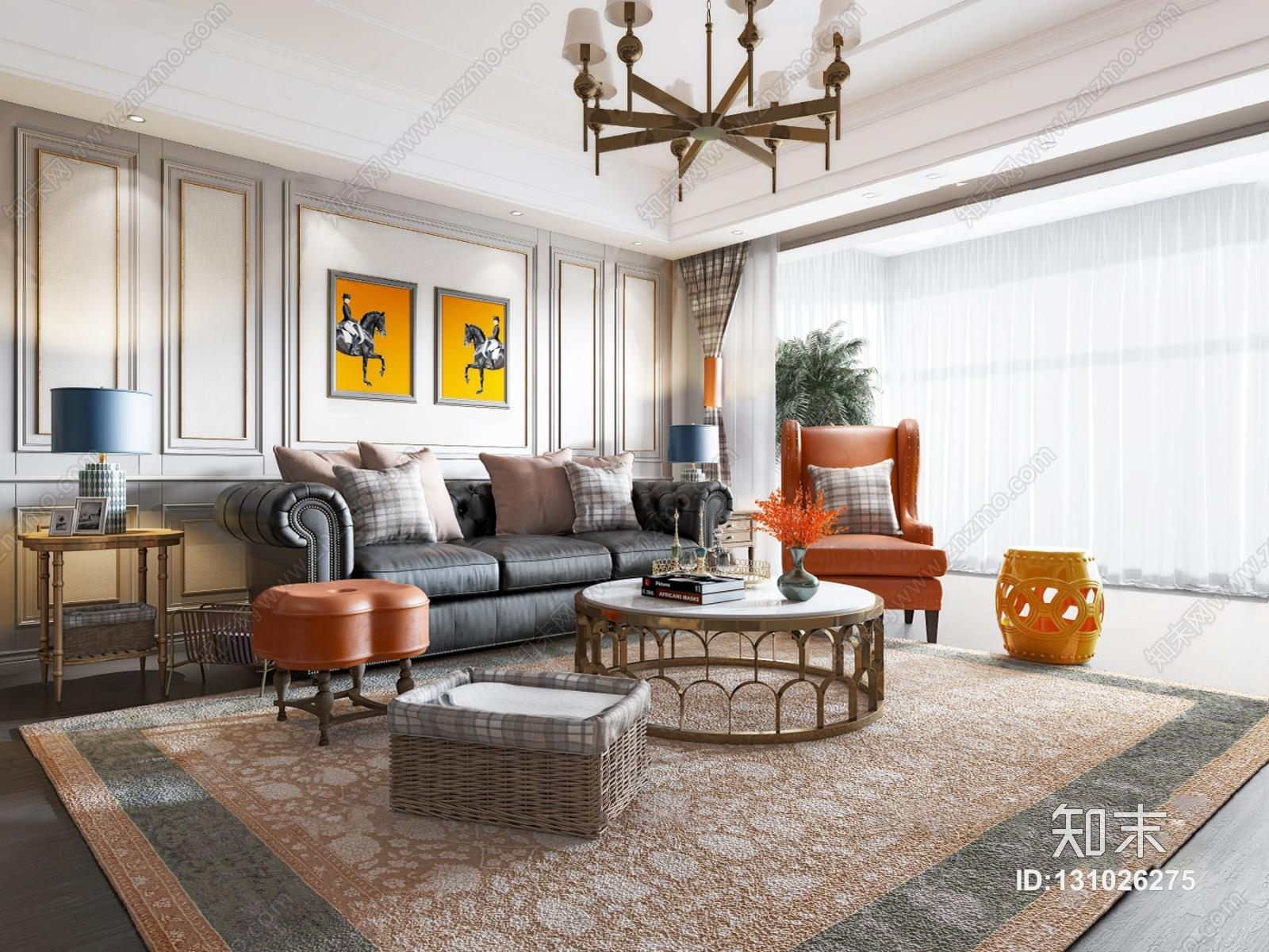 美式客厅 沙发茶几 吊灯 挂画 摆件