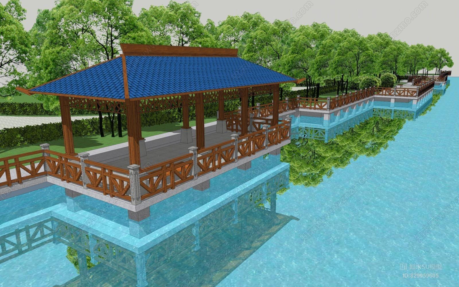 中式古建筑河边长廊休息亭
