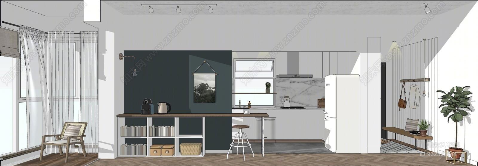 北欧客厅餐厅卧室厨房整体方案沙发茶几橱柜双人床餐桌椅家具SU模型下载【ID:932523844】
