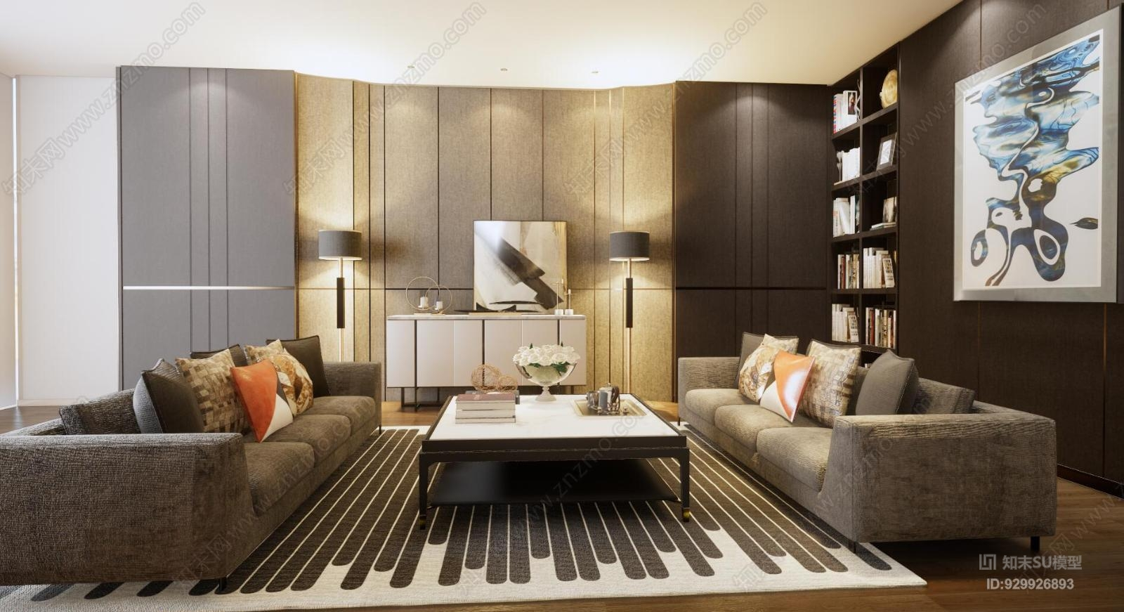 现代简约客厅背景墙沙发组合玄关柜