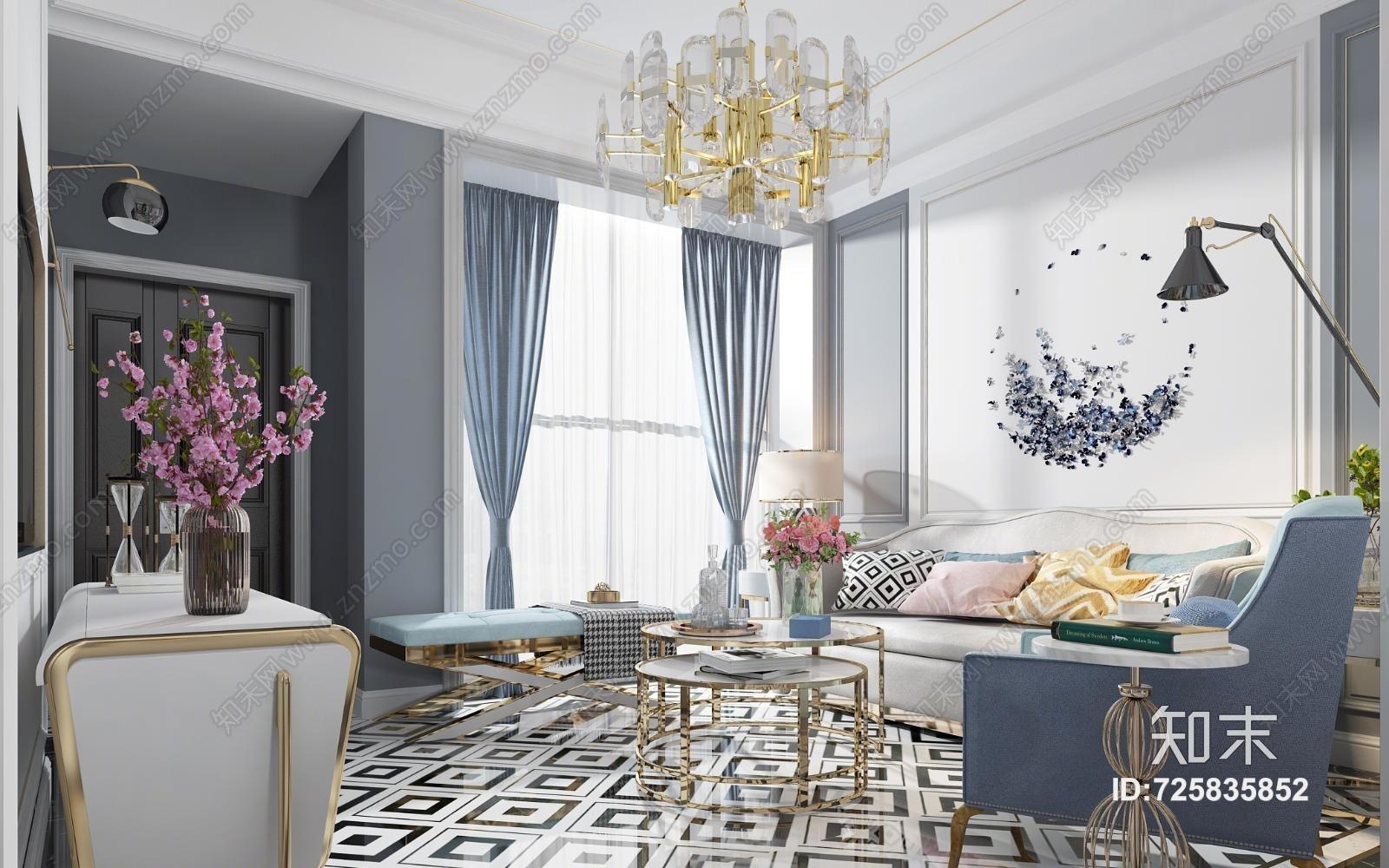 美式轻奢客厅 美式轻奢 客厅 餐厅 沙发 茶几 餐桌椅 吊灯 壁灯 挂画