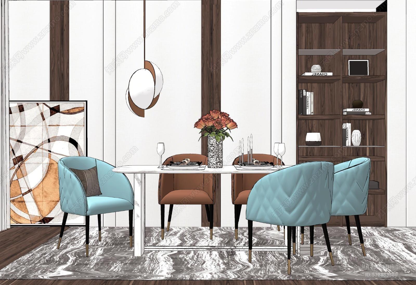 现代餐桌椅吊灯模型组合餐桌 户外 餐厅 室内 家具