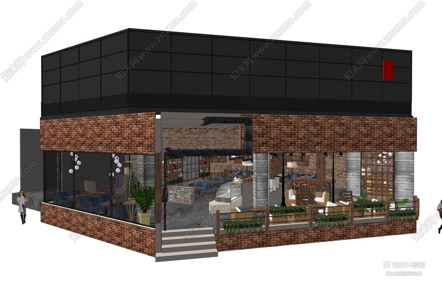 餐厅餐饮茶餐厅 咖啡厅 空间设计 吊灯 装饰品 摆件 卡座SU模型