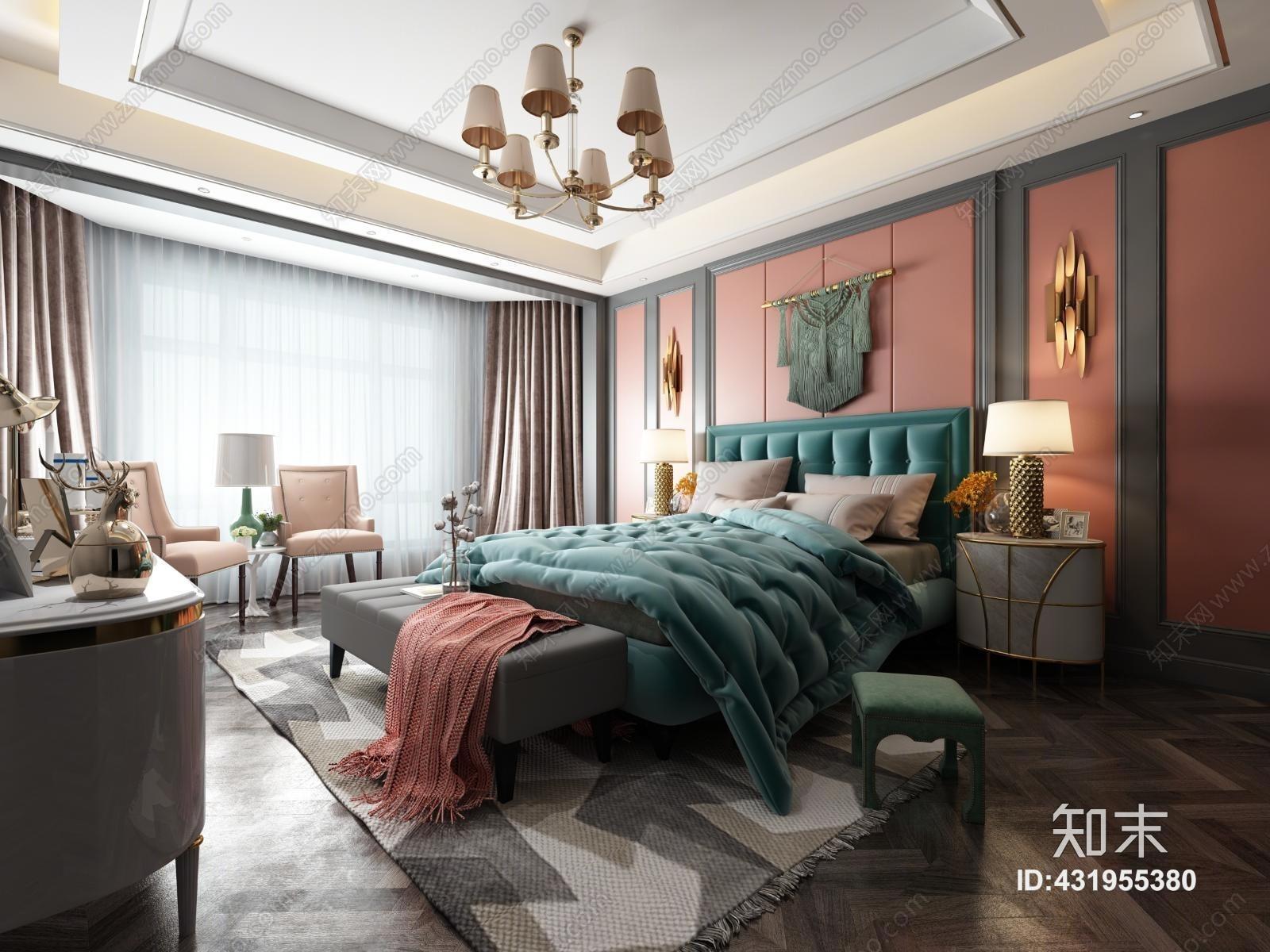 简欧卧室 双人床 床头柜 单椅 边几 装饰柜 吊灯 摆件 壁灯