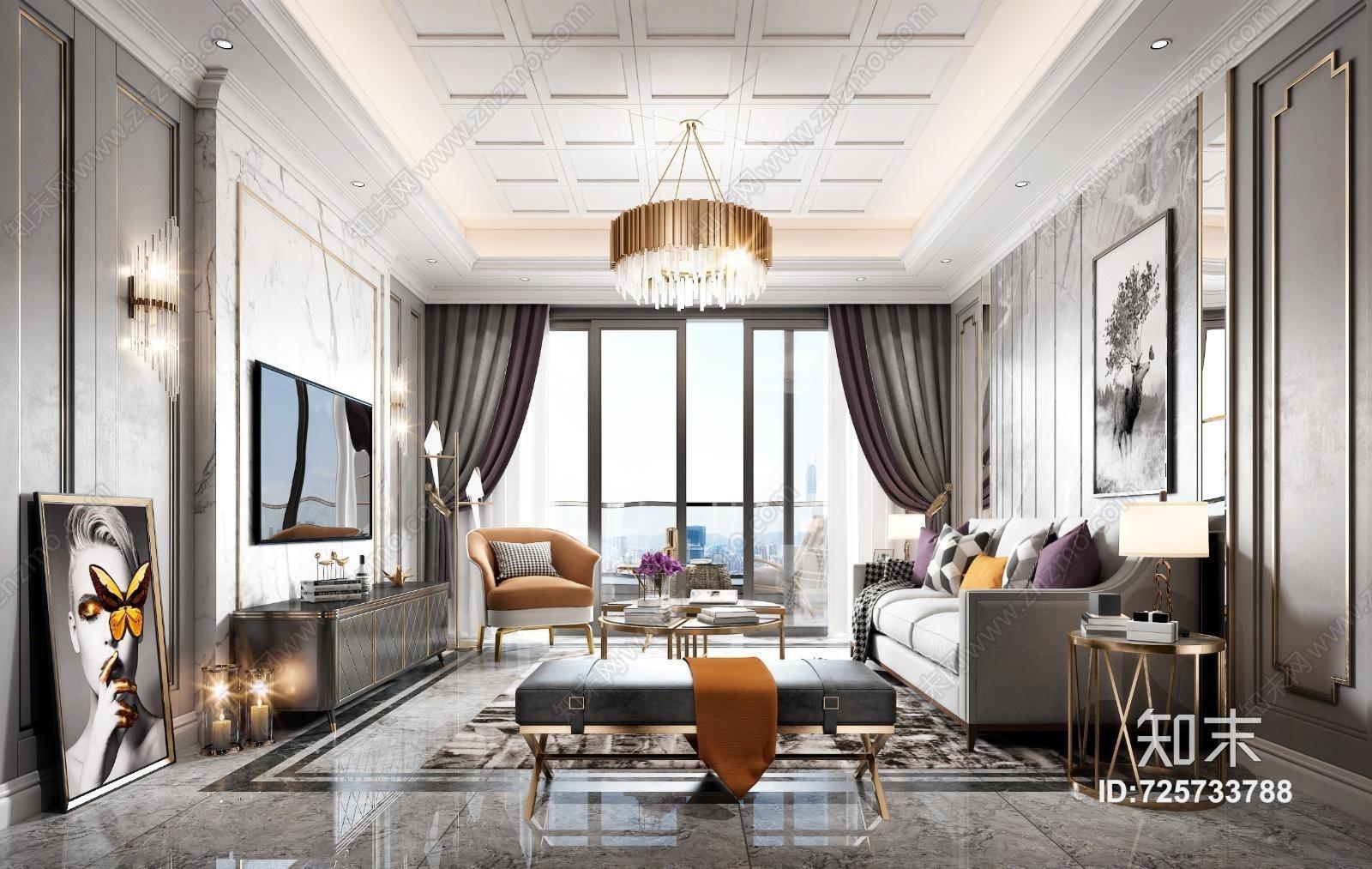 简欧客厅 沙发 餐桌 吊灯 台灯 地毯 窗帘 装饰品 挂画 抱枕 茶几 盘栽