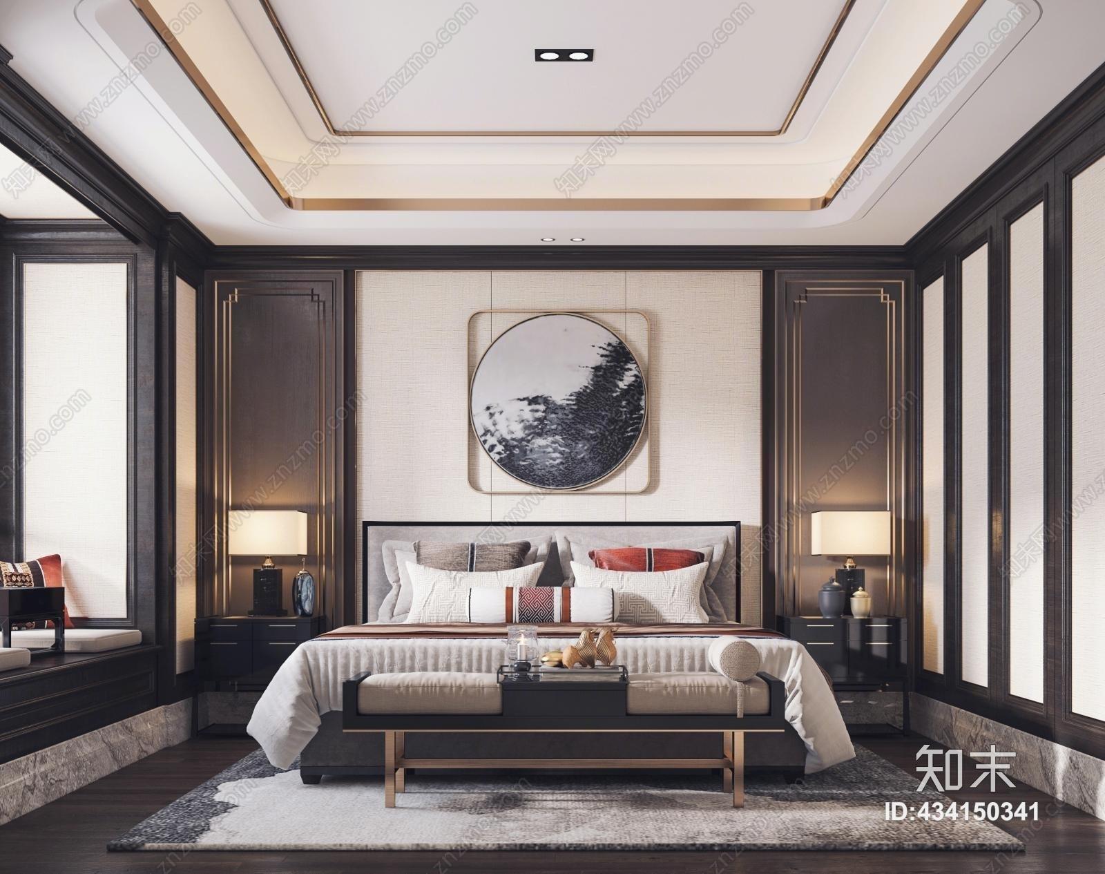 新中式卧室 新中式床 床尾凳 床头柜 装饰画 墙饰 台灯 饰品摆件
