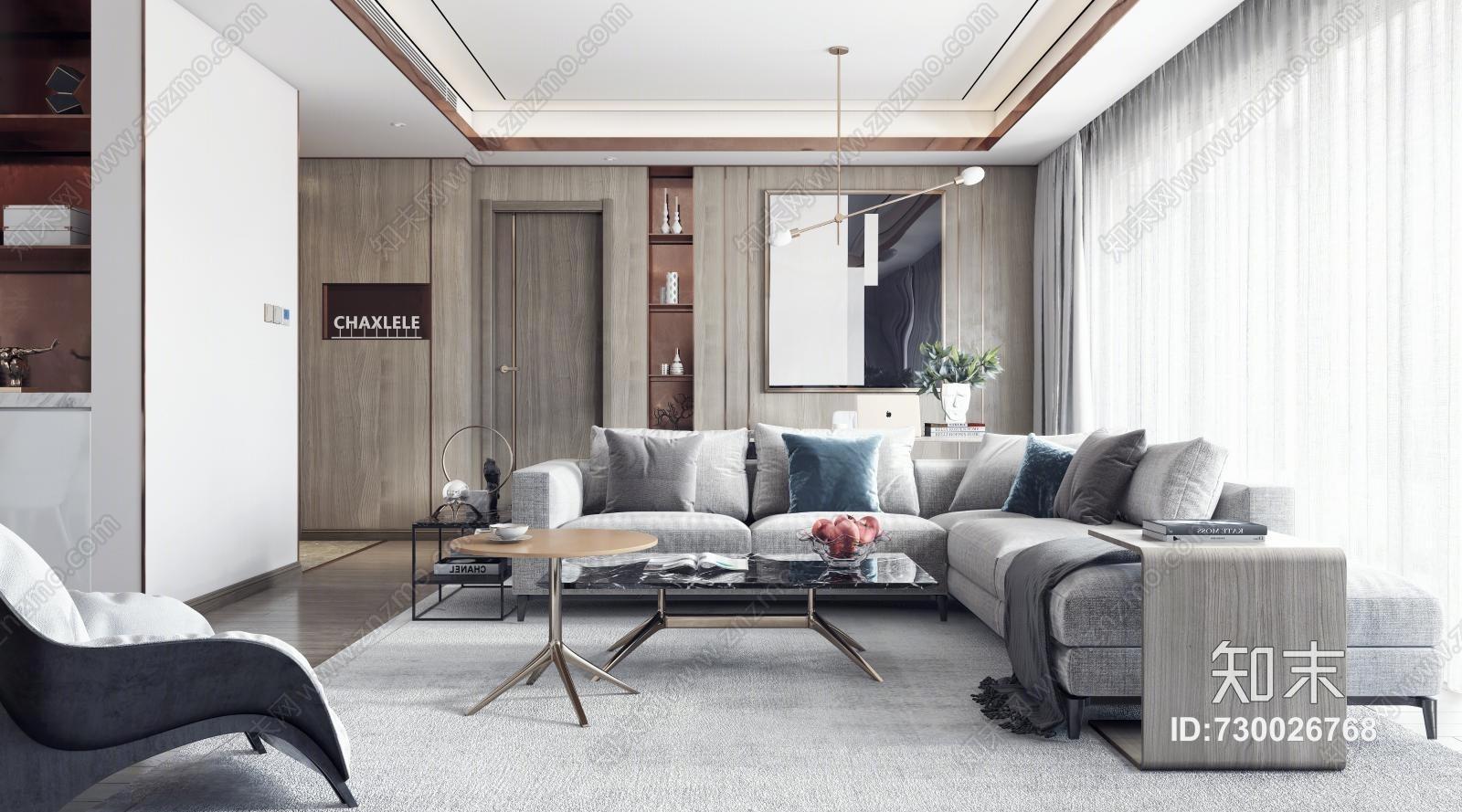 现代轻奢样板间 餐桌椅 沙发茶几 吊灯 桌面摆件 挂画