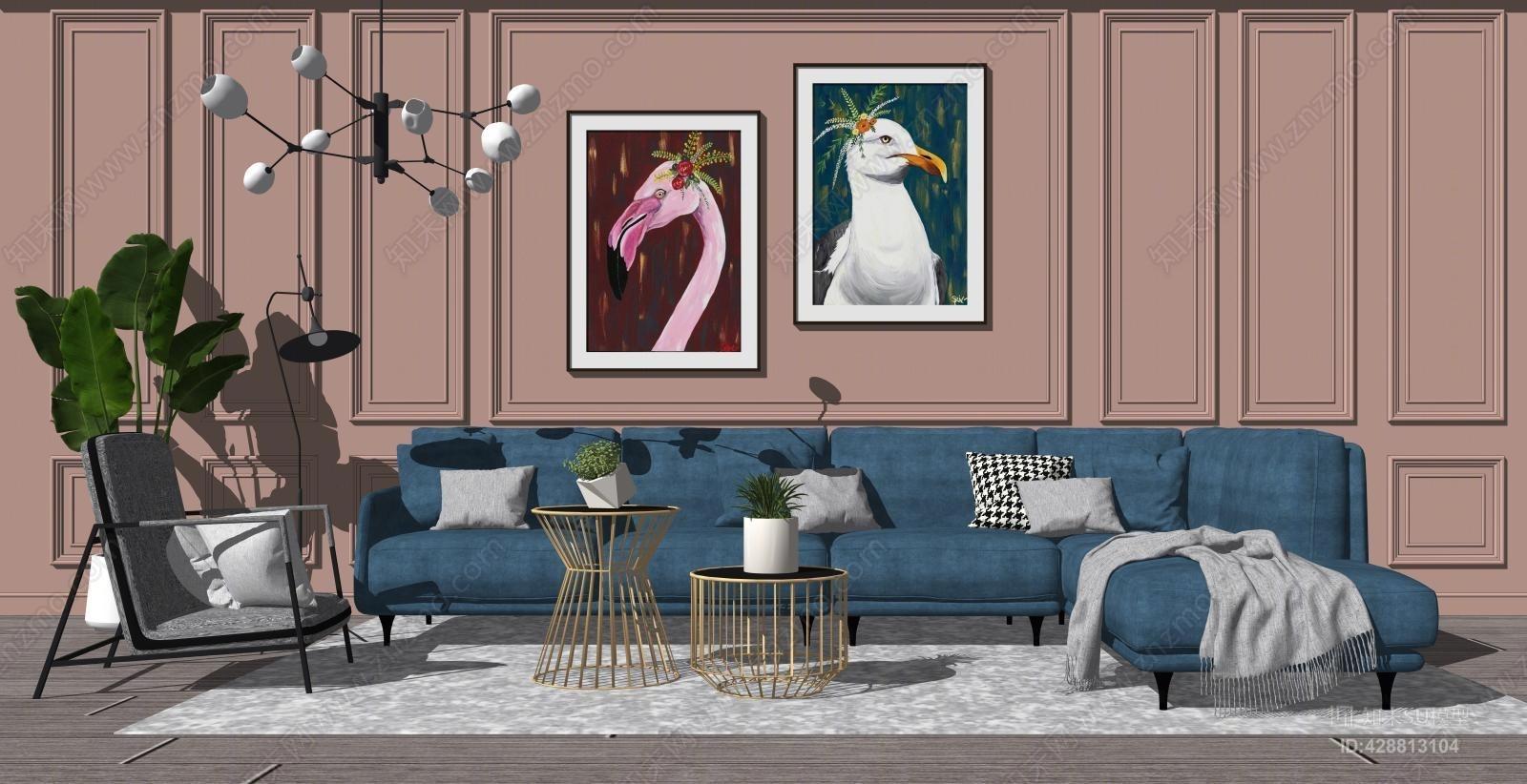现代轻奢沙发组合SU模型