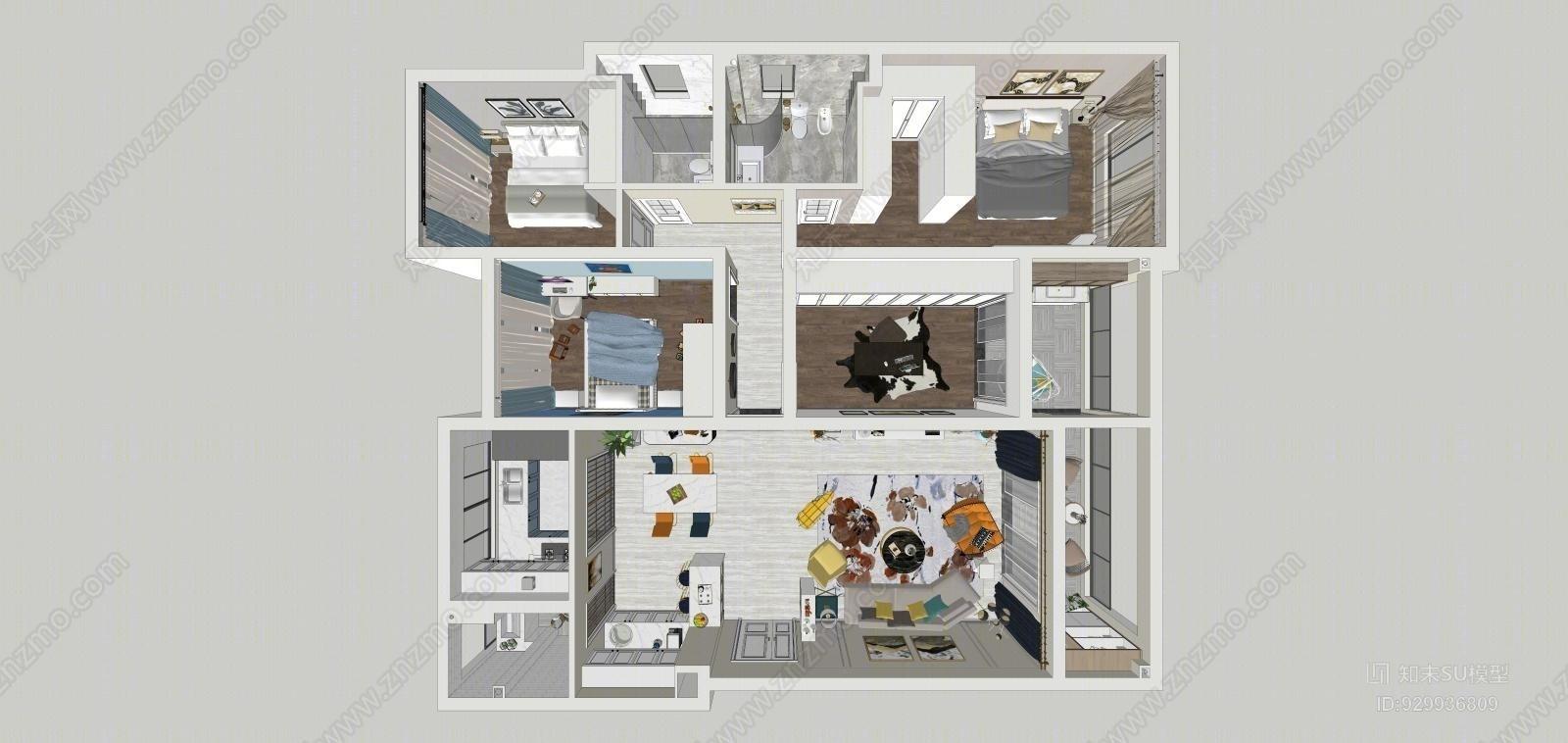 轻奢 现代 书房 儿童房 三室一厅一书房 全套精细方案