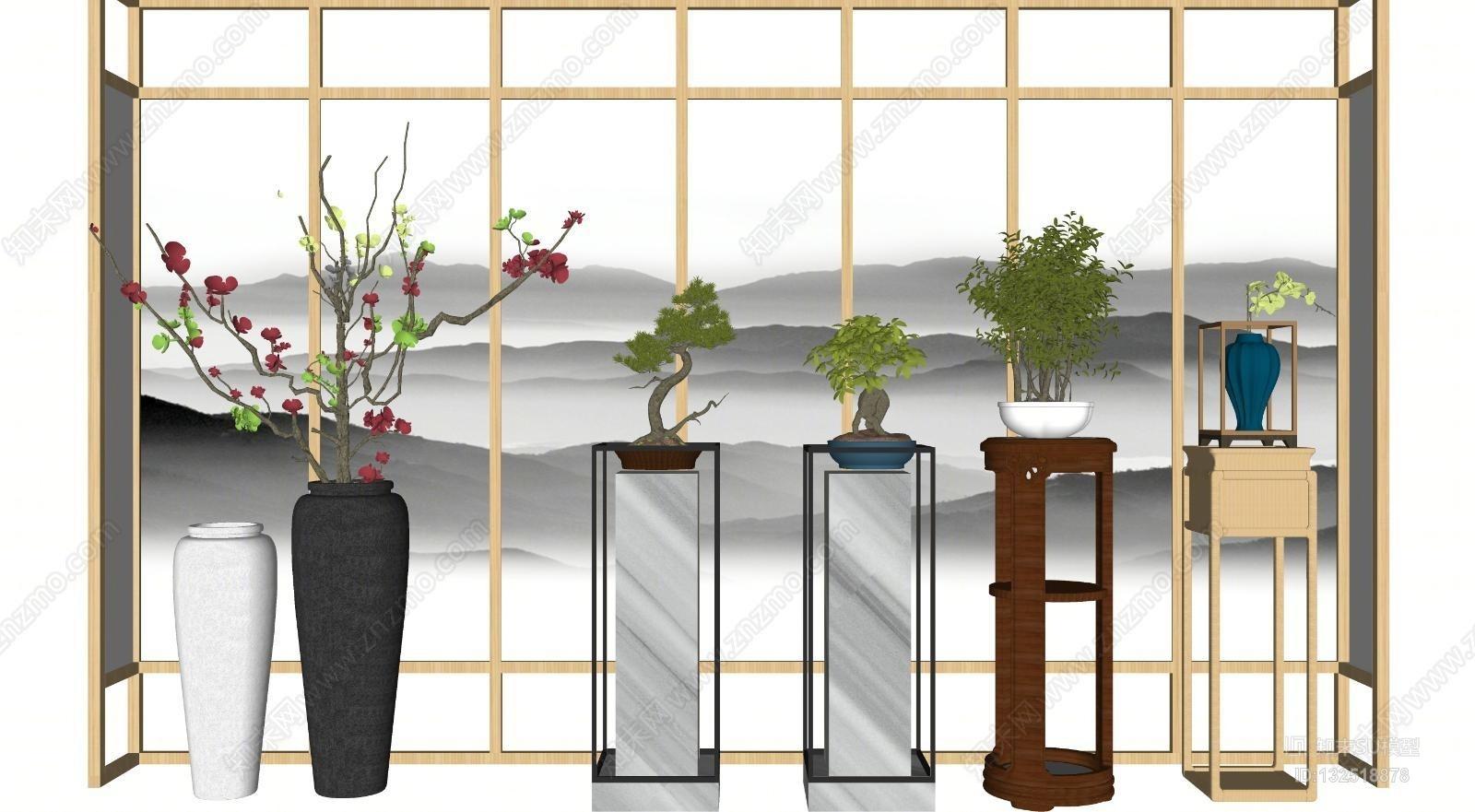 新中式花瓶花架盆景组合