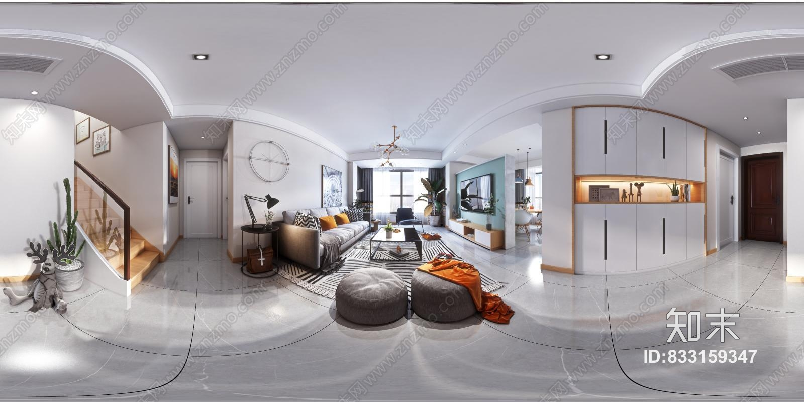 北欧客厅3D全景模型
