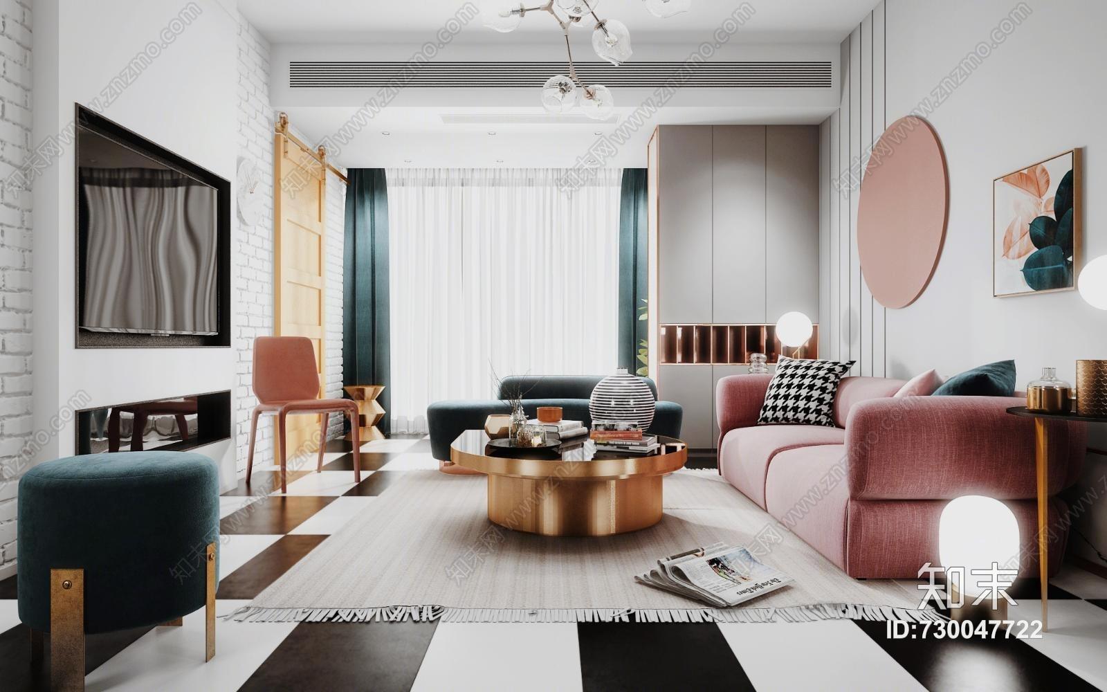 现代北欧客厅模型 沙发组合 茶几 坐墩 吊灯 单椅