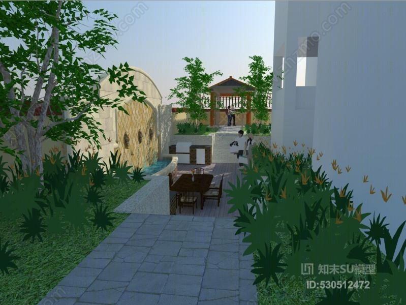 私家别墅庭院景观设计广场 建筑 庭院 室外 方尖碑