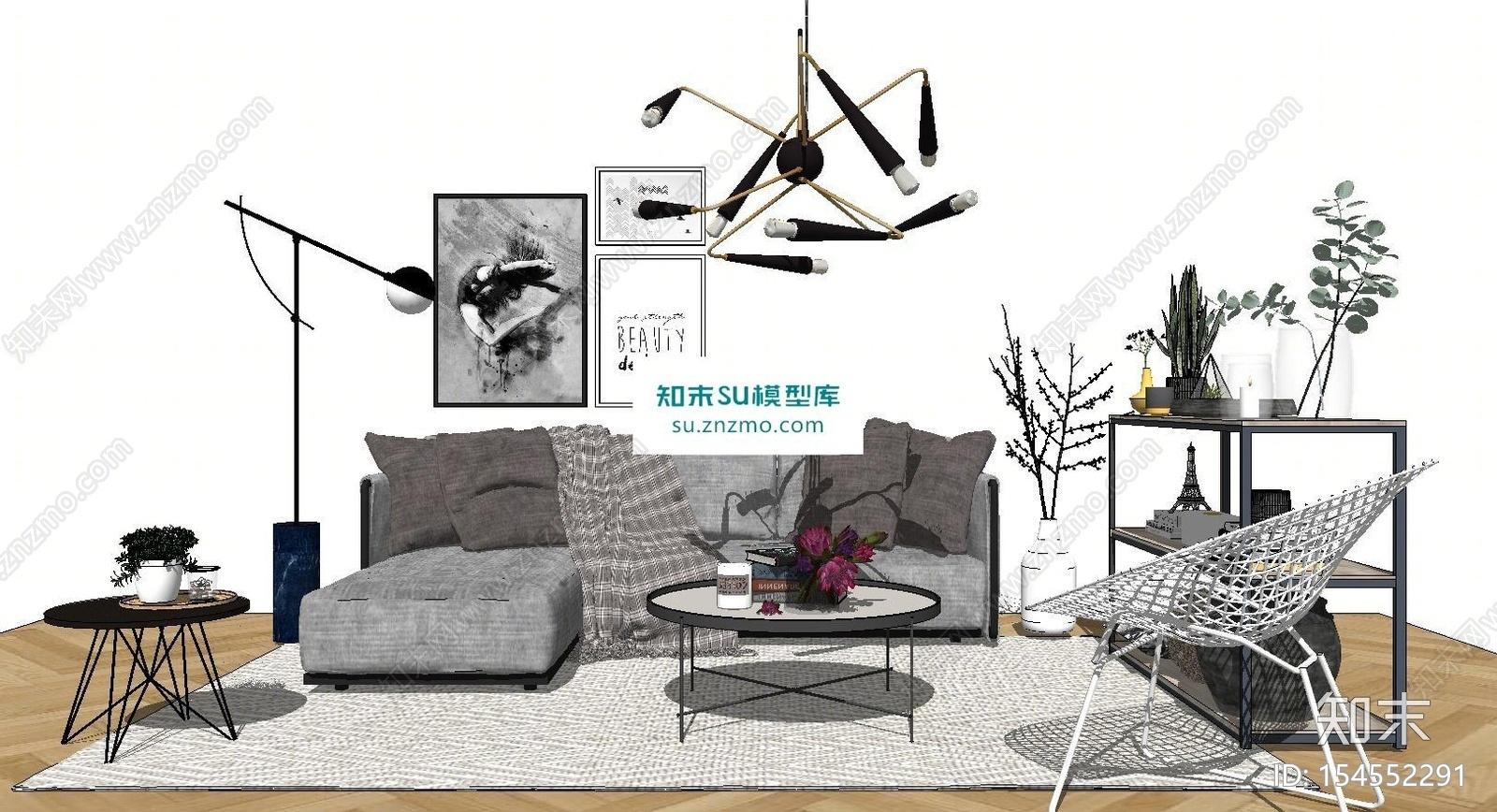 休闲沙发桌椅茶几置物架组合SU模型下载【ID:154552291】