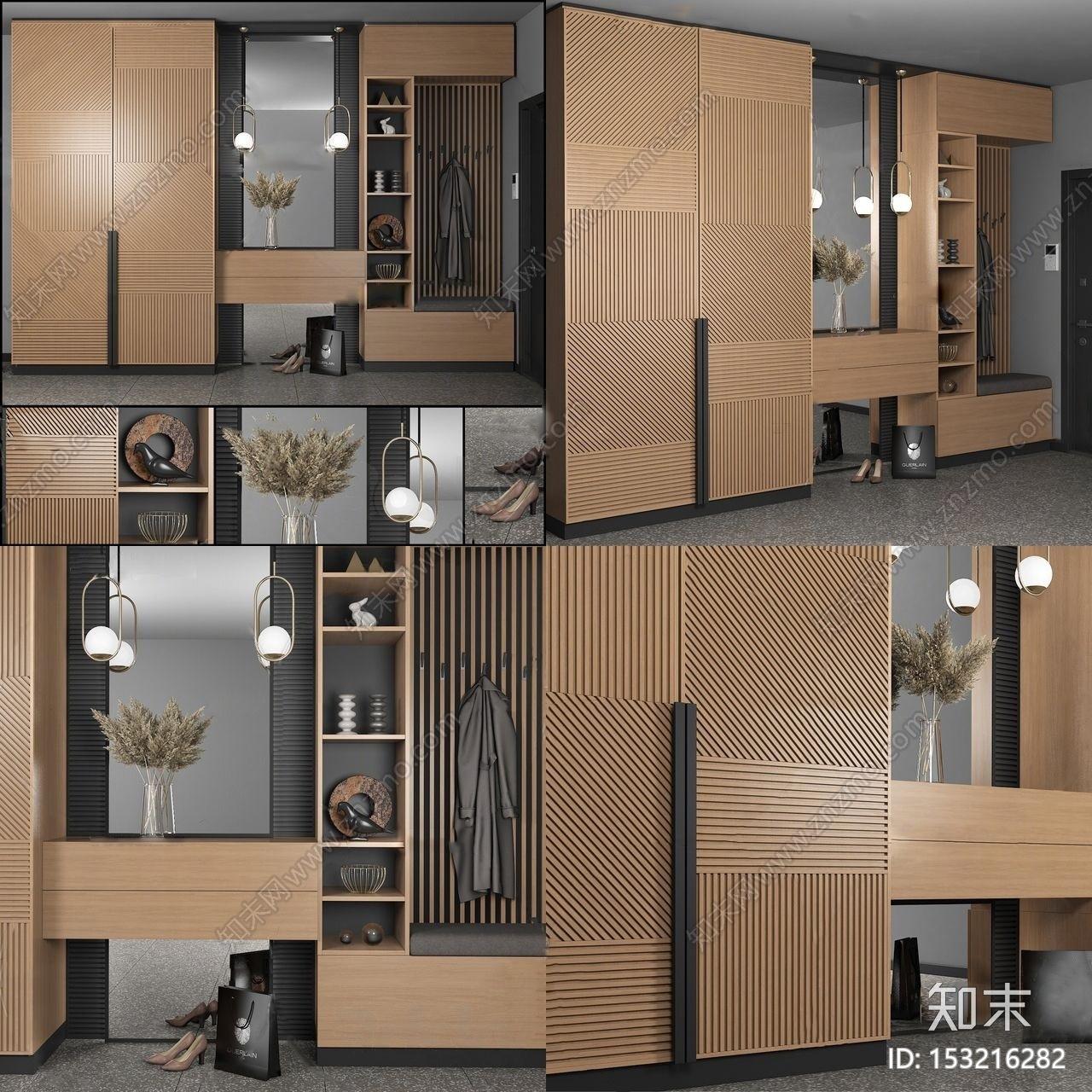 新中式多功能鞋柜3d模型3D模型下载【ID:153216282】