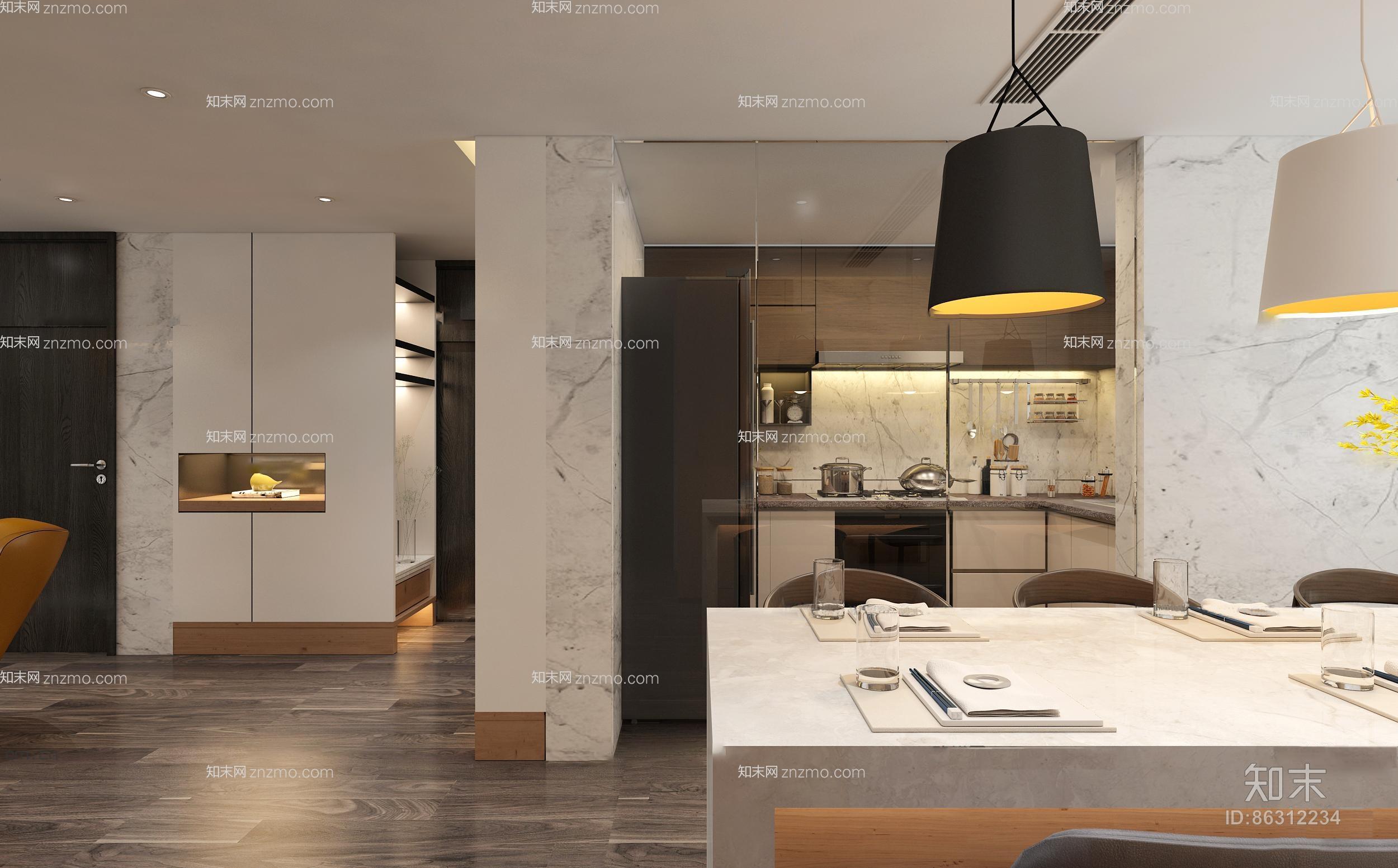 现代客厅餐厅 吊灯 台灯 装饰柜 单双人沙发 茶几 书架 挂画 餐桌椅