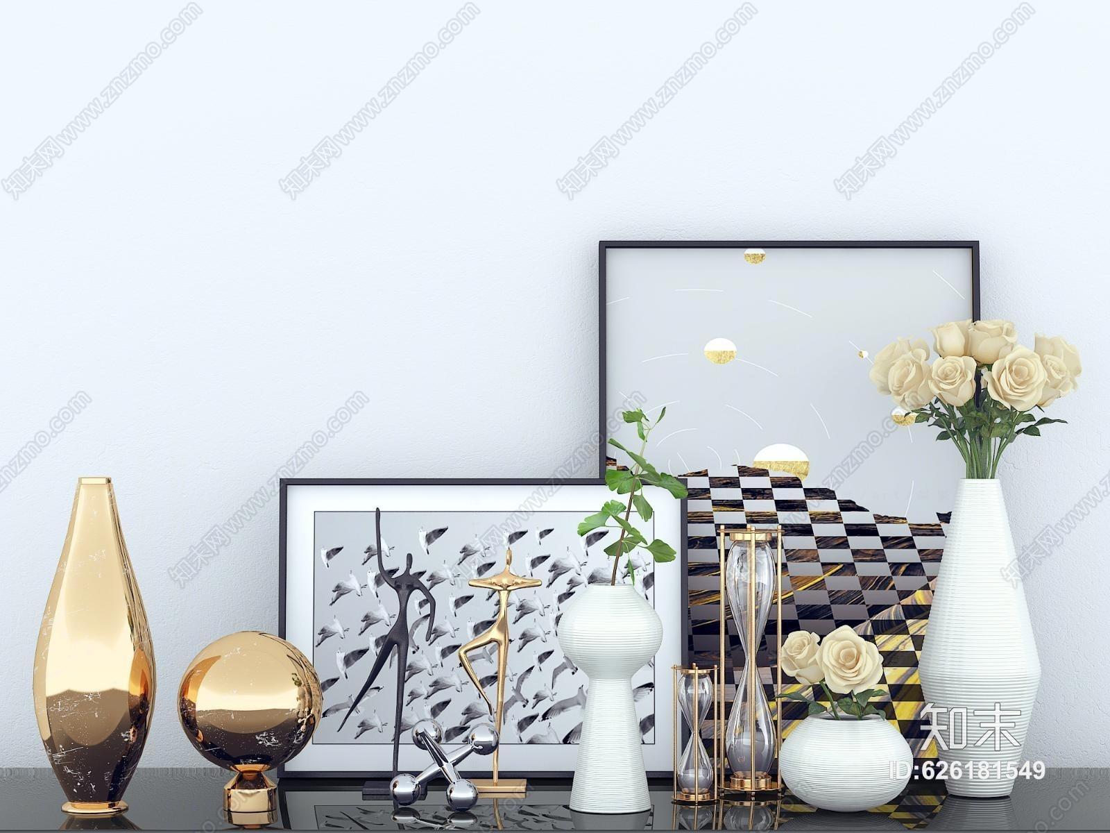 现代摆件 现代摆件 花瓶 装饰画 装饰品