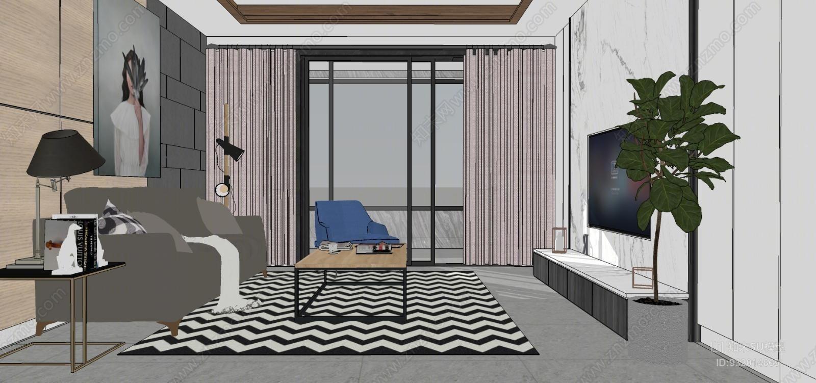 现代风格客厅滑动门 室内 楼梯 庭院 镜子