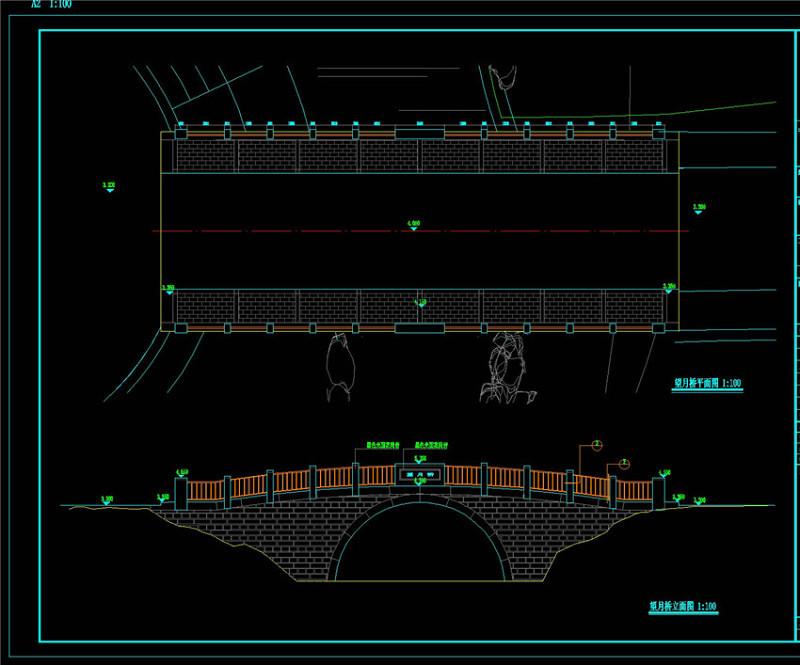 望月桥CAD景观图纸施工图下载【ID:149710120】