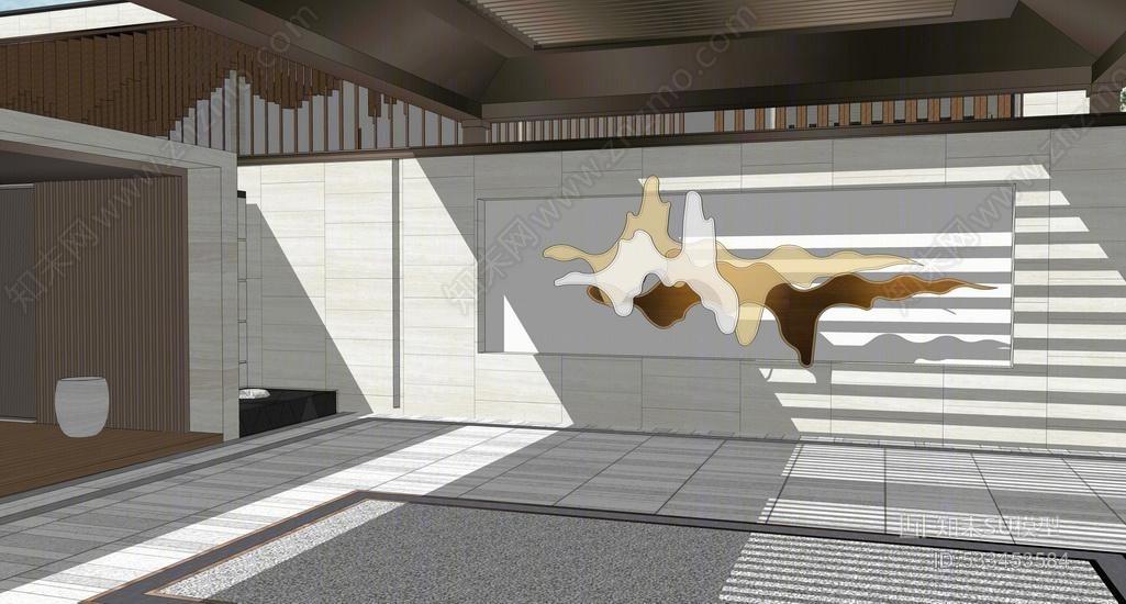 新中式售楼处示范区景观SU模型
