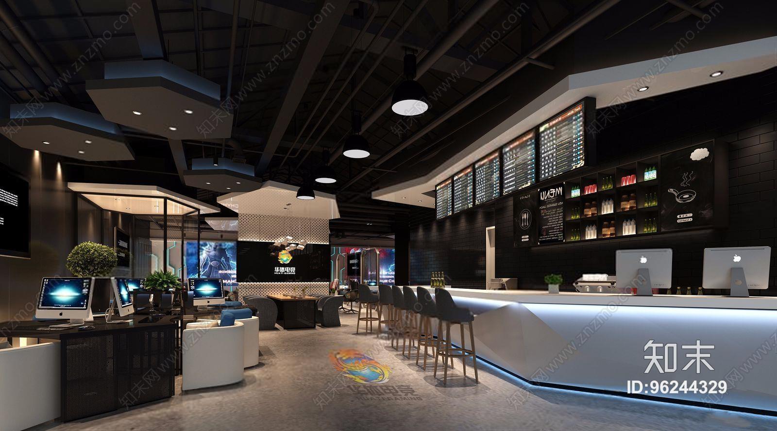 工业风网吧 工业风网咖 网吧 服务台 桌子 椅子 吊灯 收银台 吧台 吧图片