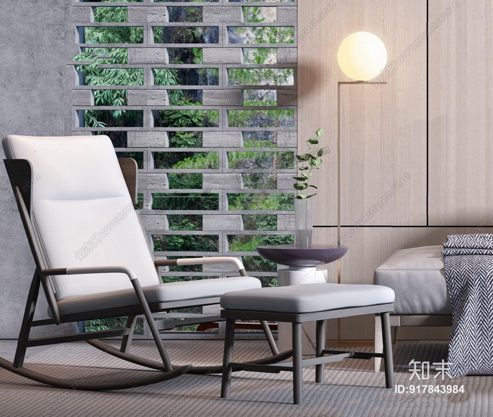 现代多人沙发茶几休闲椅 现代多人沙发 圆茶几 休闲椅 脚凳 落地灯 挂画 背景墙 摆件