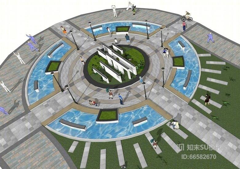 中式圆形广场景观SU模型