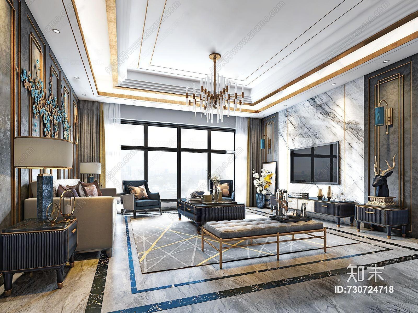 后现代客厅 吊灯 沙发茶几