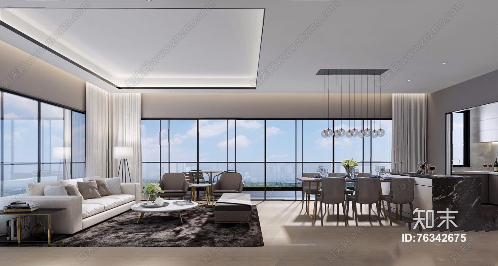 现代客餐厅 现代客厅 多人沙发 茶几 边几 餐桌椅 厨房 吊灯 落地灯 餐具 餐桌椅 电视柜 摆件