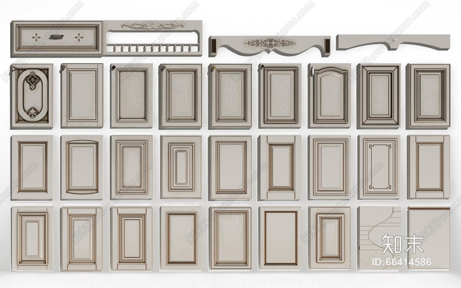 经典欧式橱柜门板 衣柜门板3d模型下载【id:66414586】