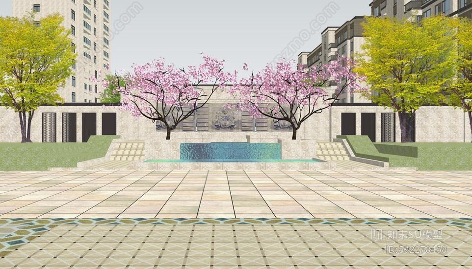 新古典小区中轴线景观SU模型