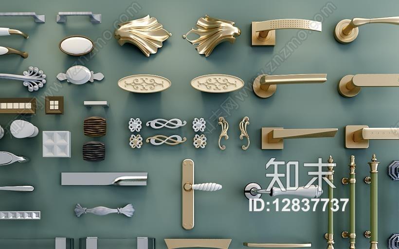 常用款拉手合集3D模型下载【ID:12837737】
