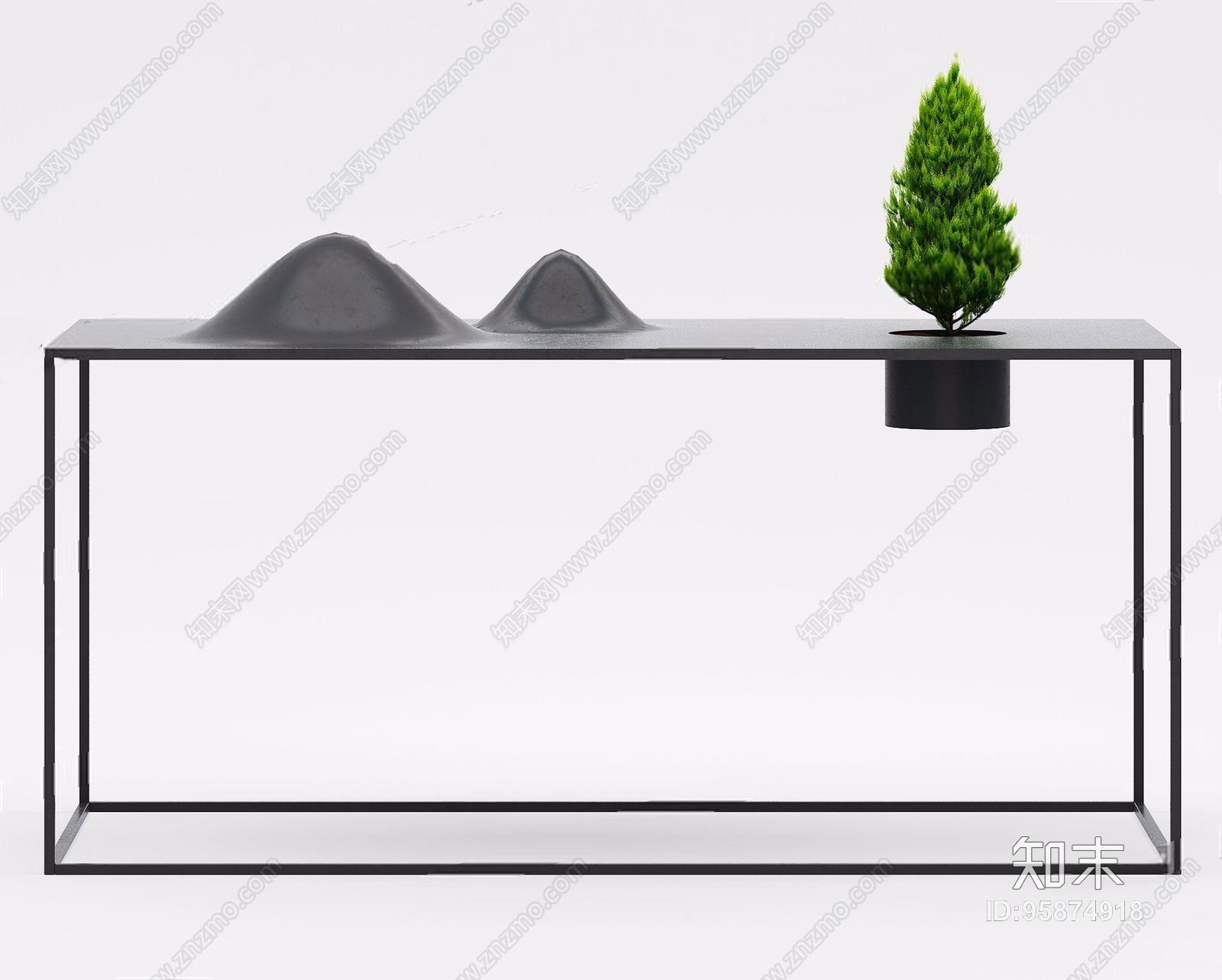 新中式玄关台 新中式玄关台 端景台 摆件 植物 台灯 条案