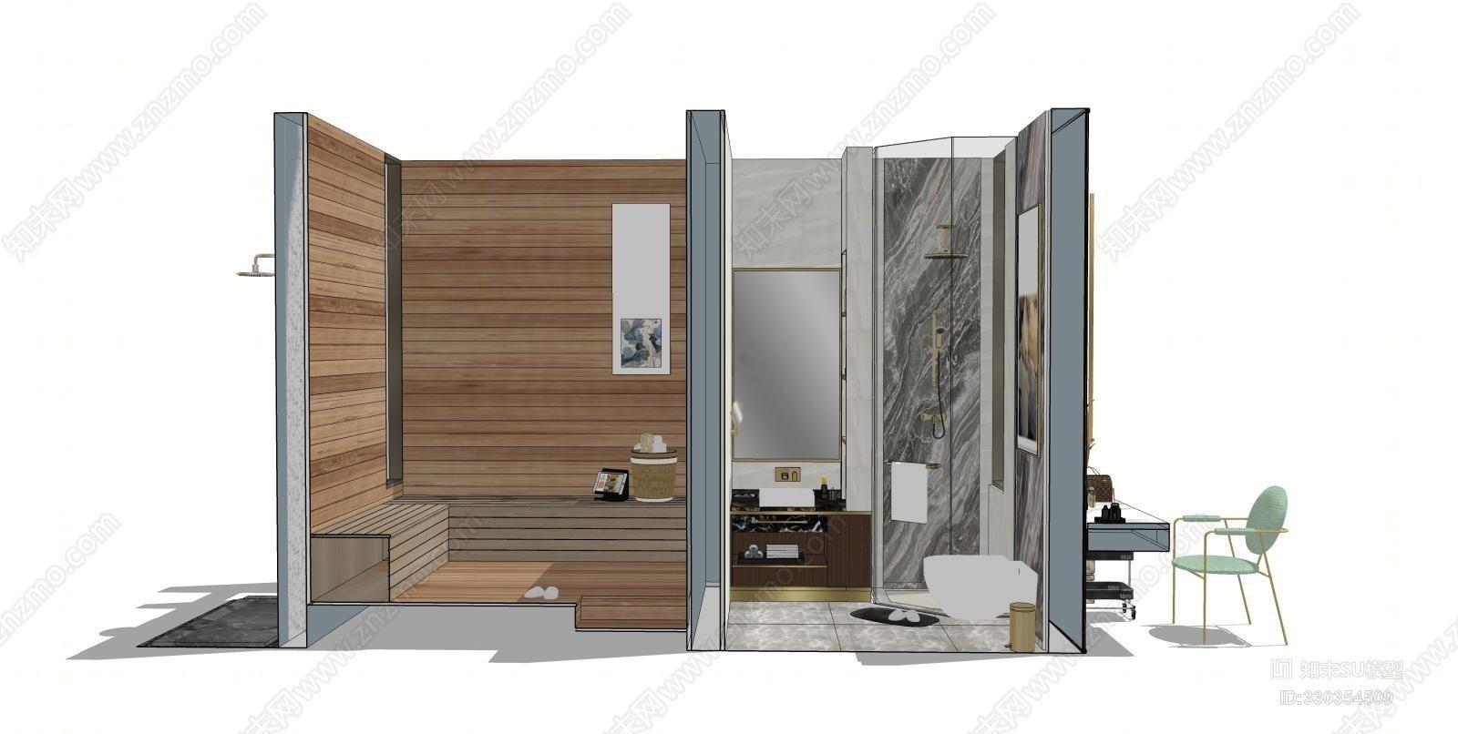 现代轻奢卫生间汗蒸房梳妆台室外淋浴衣柜 家具 室外 其他 电脑
