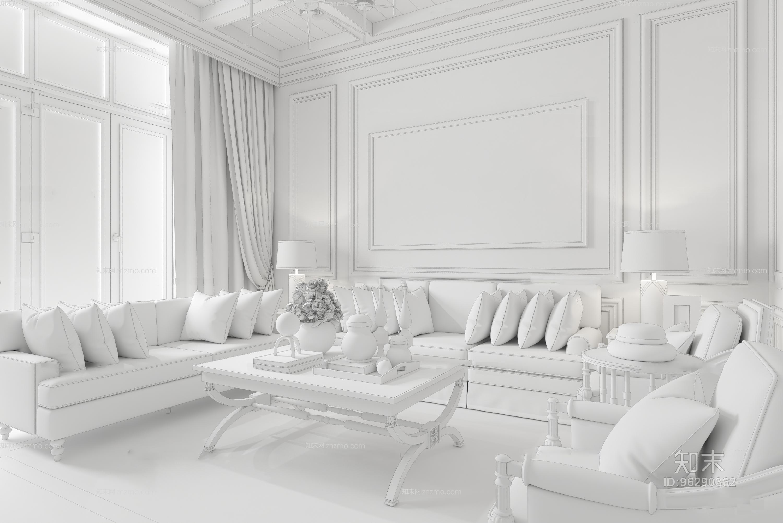 葛亚曦后现代客厅3D模型 吊灯 台灯 单双人沙发 茶几 挂画