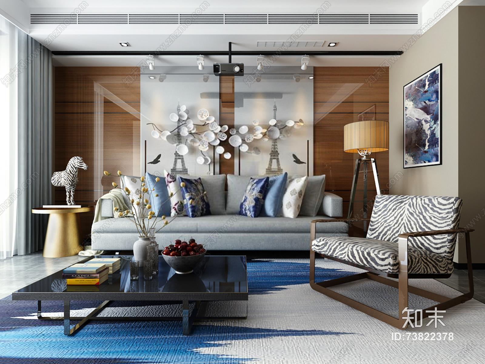 现代沙发装饰 现代客厅 茶几 多人沙发 落地灯 沙发椅