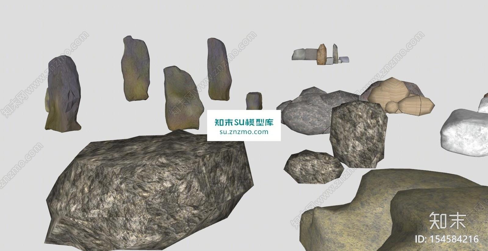 石景景石石头立体设计SU模型下载【ID:154584216】