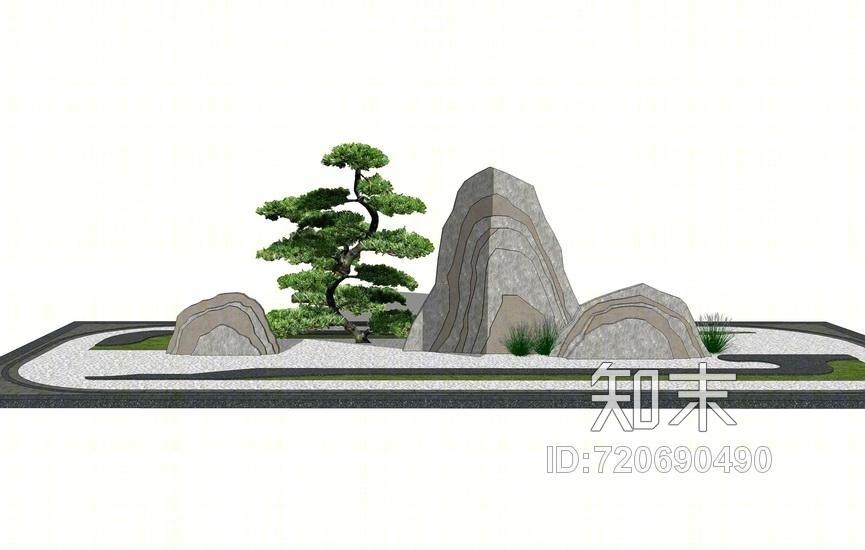 中式片石小景SU模型