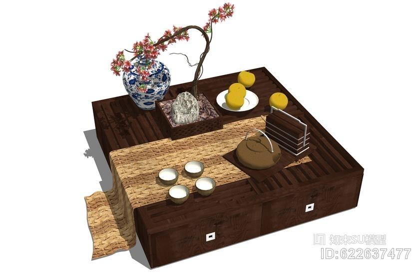 中式茶几SU模型