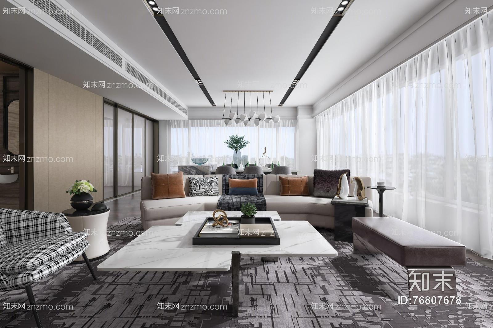 现代客厅 多人沙发 单人沙发 茶几 摆件 吊灯 沙发凳
