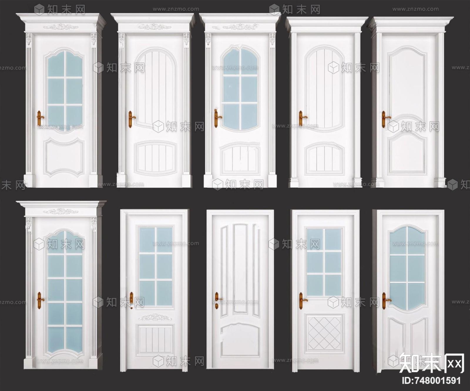 简欧房门玻璃门单开门3d模型3D模型下载【ID:748001591】