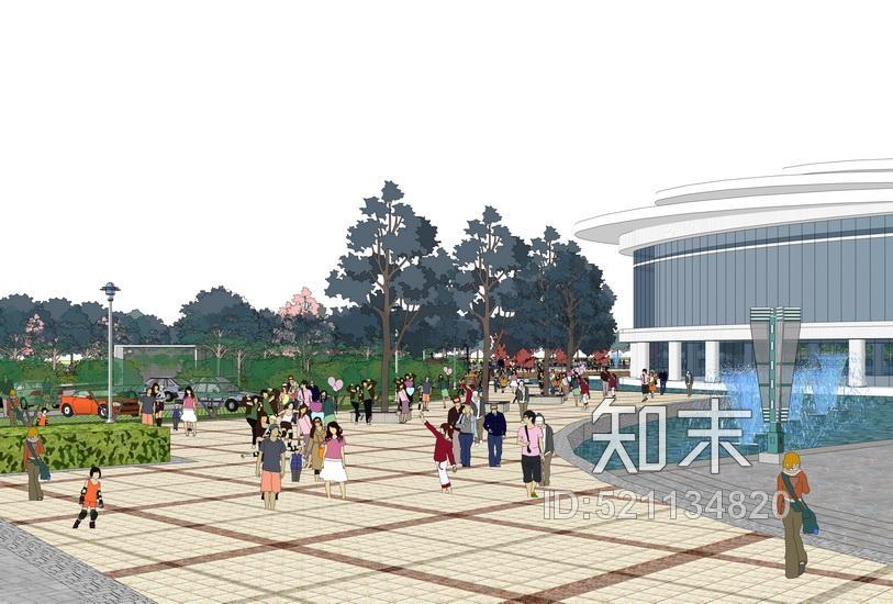 文化活动中心广场景观SU模型