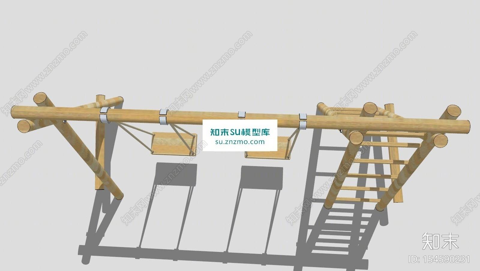 一体式木架梯秋千SU模型下载【ID:154590231】
