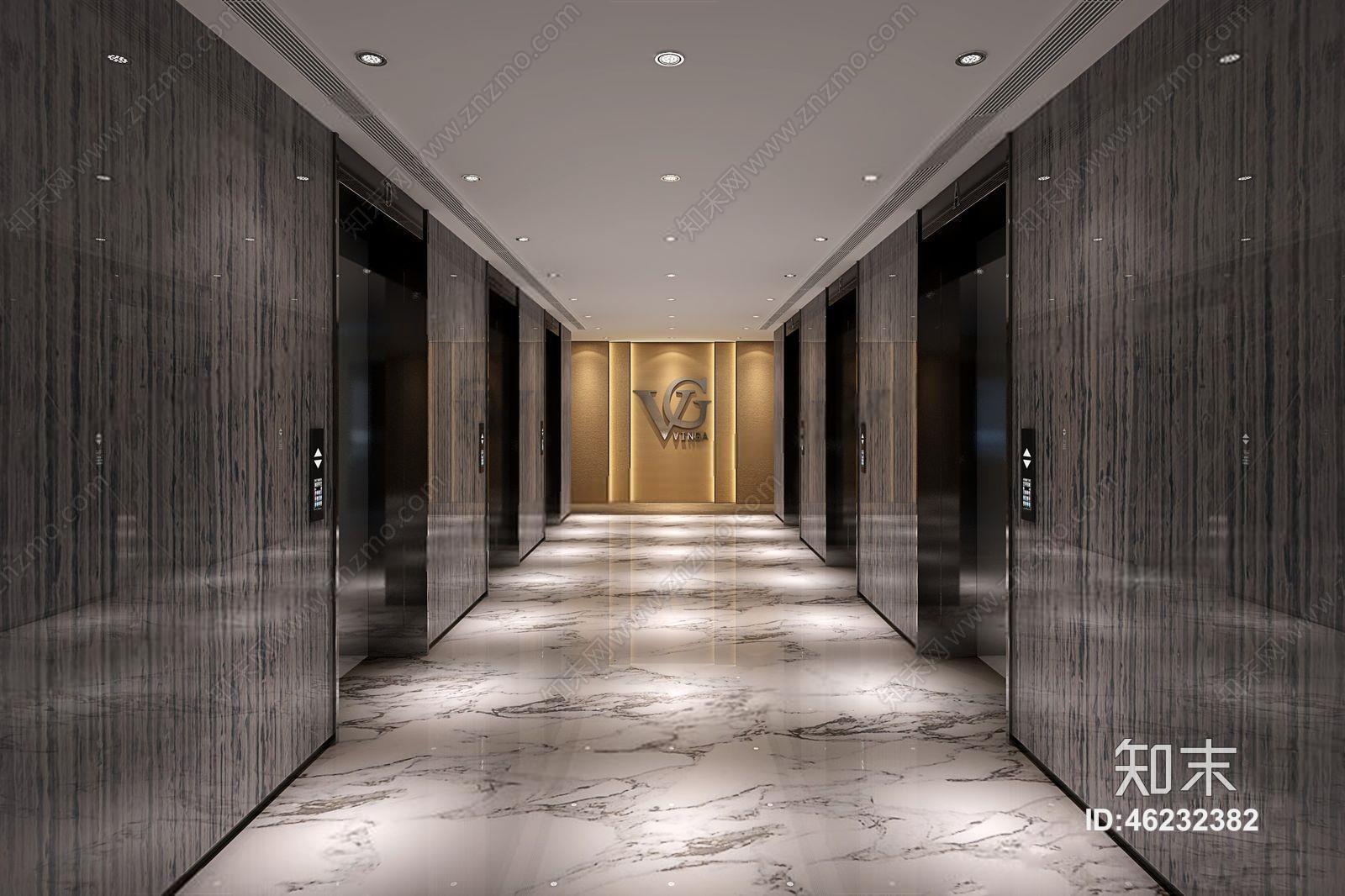 现代电梯间 现代过道 过道3d模型下载【id:46232382】