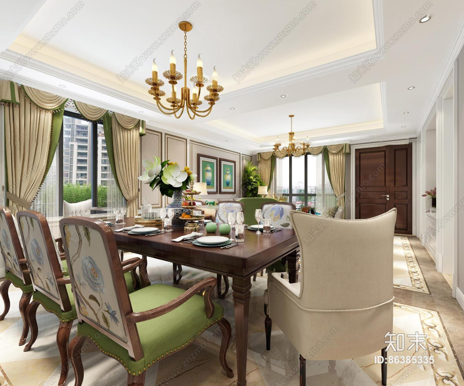 美式客厅餐厅书房 吊灯 台灯 单双人沙发 茶几 装饰柜 餐桌椅 挂画 陈设摆件 书桌椅 储物柜