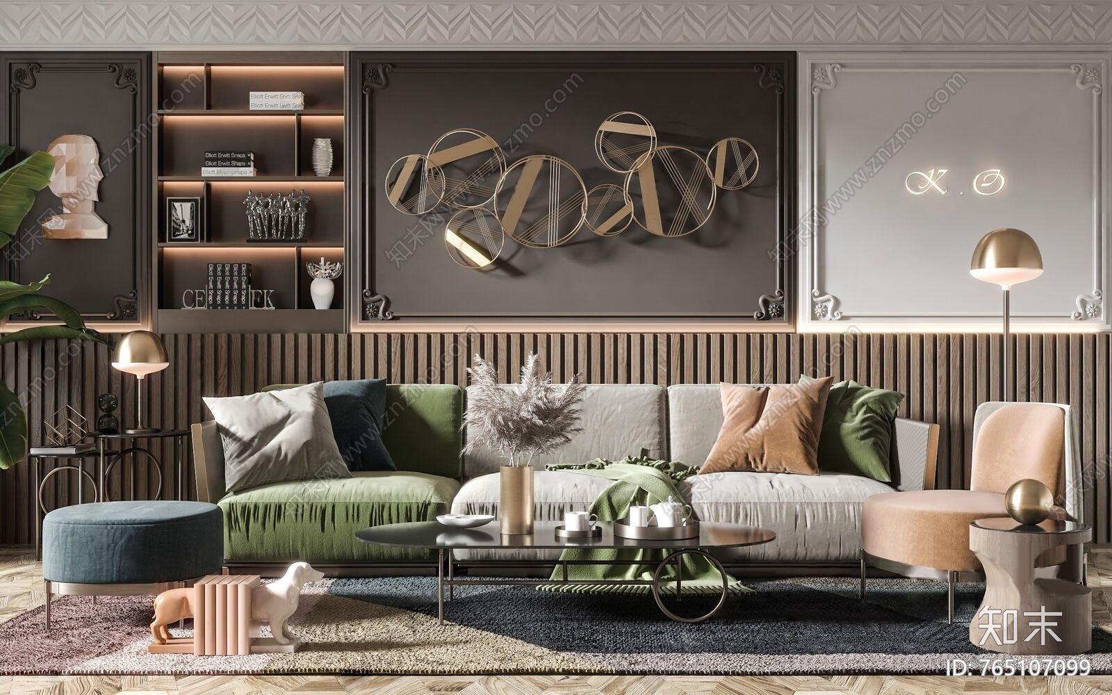 现代轻奢沙发茶几组合3D模型下载【ID:765107099】